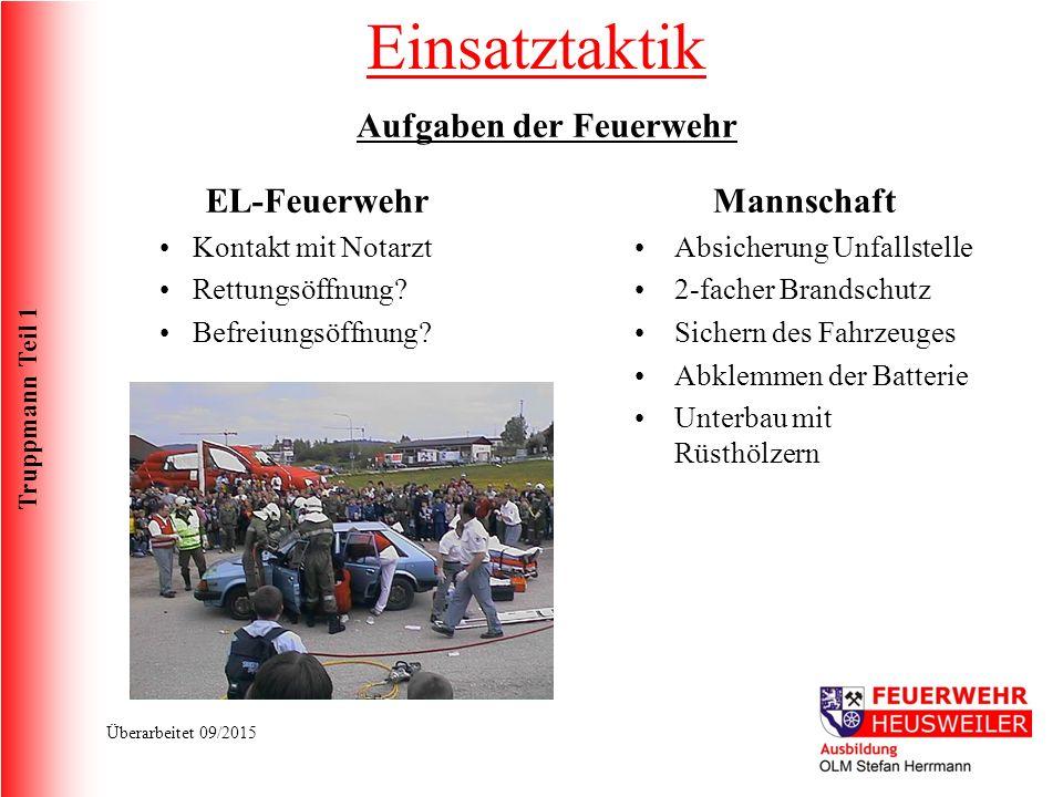 Truppmann Teil 1 Überarbeitet 09/2015 EL-Feuerwehr Kontakt mit Notarzt Rettungsöffnung.