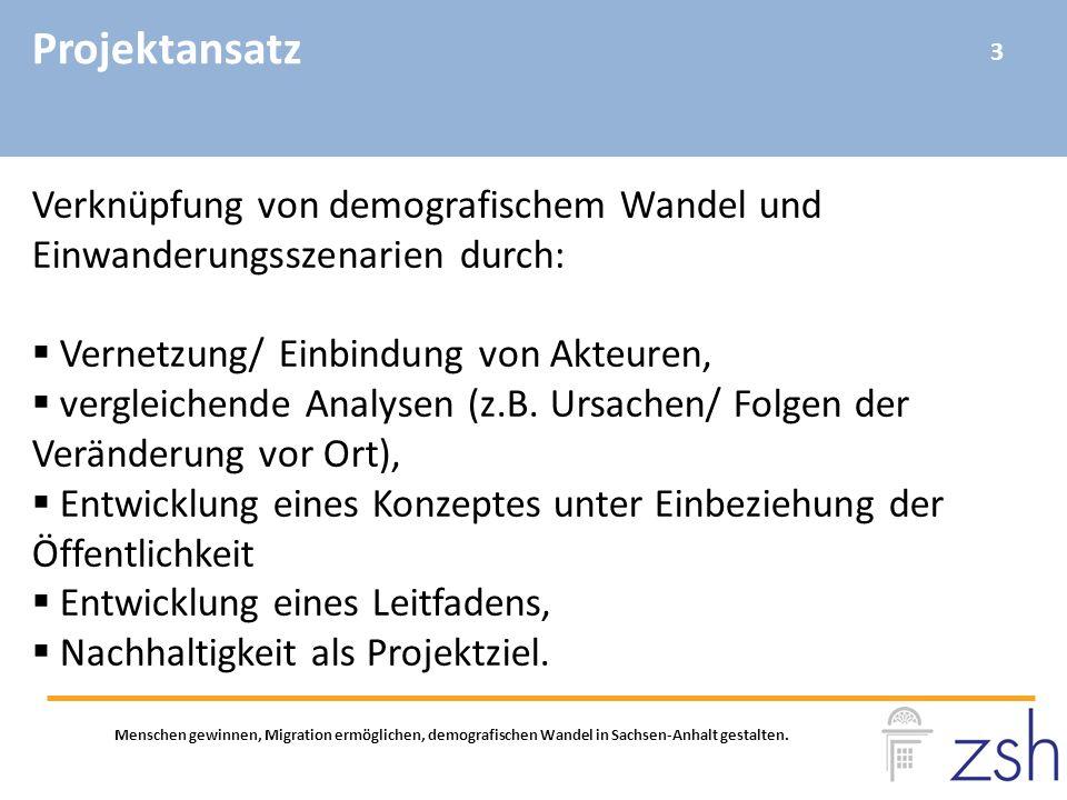Projektansatz Menschen gewinnen, Migration ermöglichen, demografischen Wandel in Sachsen-Anhalt gestalten. Verknüpfung von demografischem Wandel und E