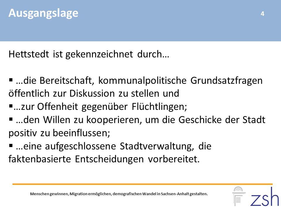 Ausgangslage Menschen gewinnen, Migration ermöglichen, demografischen Wandel in Sachsen-Anhalt gestalten. Hettstedt ist gekennzeichnet durch…  …die B