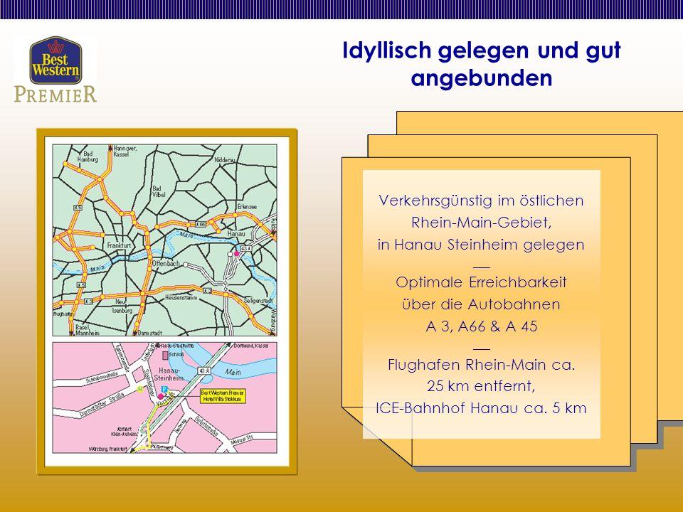 Idyllisch gelegen und gut angebunden Verkehrsgünstig im östlichen Rhein-Main-Gebiet, in Hanau Steinheim gelegen ___ Optimale Erreichbarkeit über die Autobahnen A 3, A66 & A 45 ___ Flughafen Rhein-Main ca.