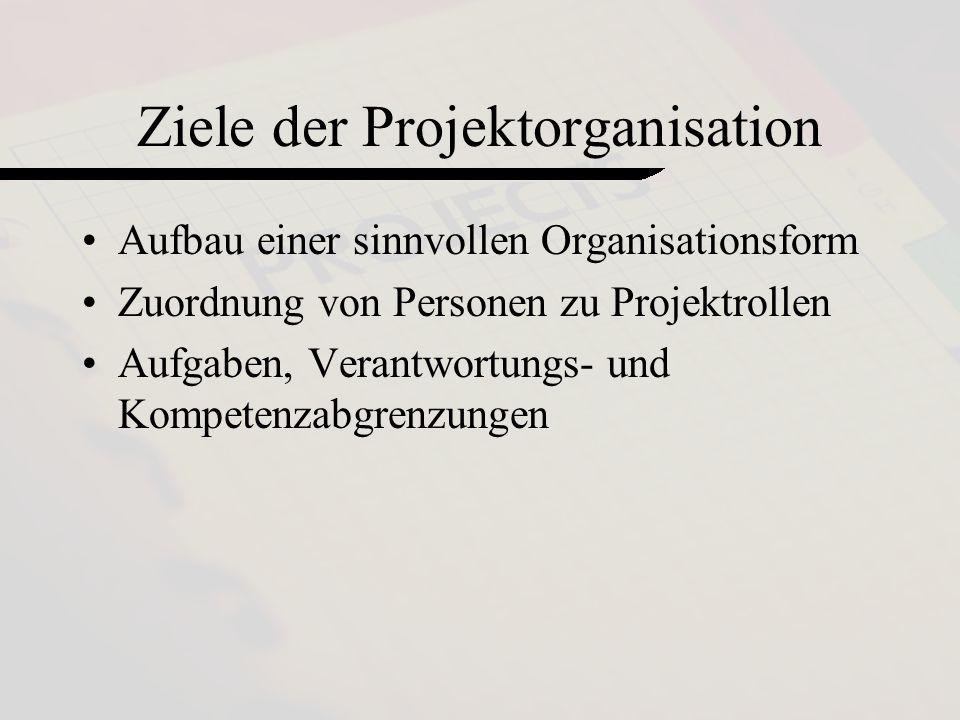 2 Ziele der Projektorganisation Aufbau einer sinnvollen Organisationsform Zuordnung von Personen zu Projektrollen Aufgaben, Verantwortungs- und Kompetenzabgrenzungen