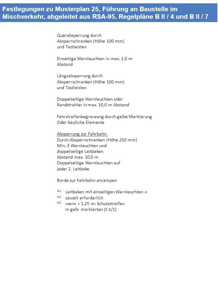 Festlegungen zu Musterplan 25, Führung an Baustelle im Mischverkehr, abgeleitet aus RSA-95, Regelpläne B II / 4 und B II / 7 Querabsperrung durch Absp