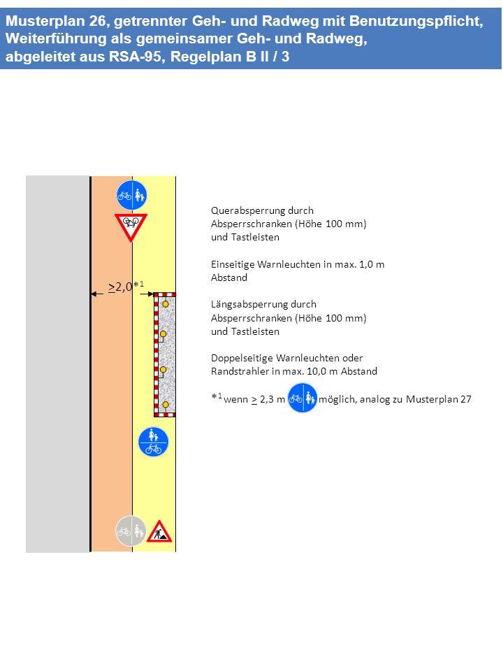 Musterplan 26, getrennter Geh- und Radweg mit Benutzungspflicht, Weiterführung als gemeinsamer Geh- und Radweg, abgeleitet aus RSA-95, Regelplan B II