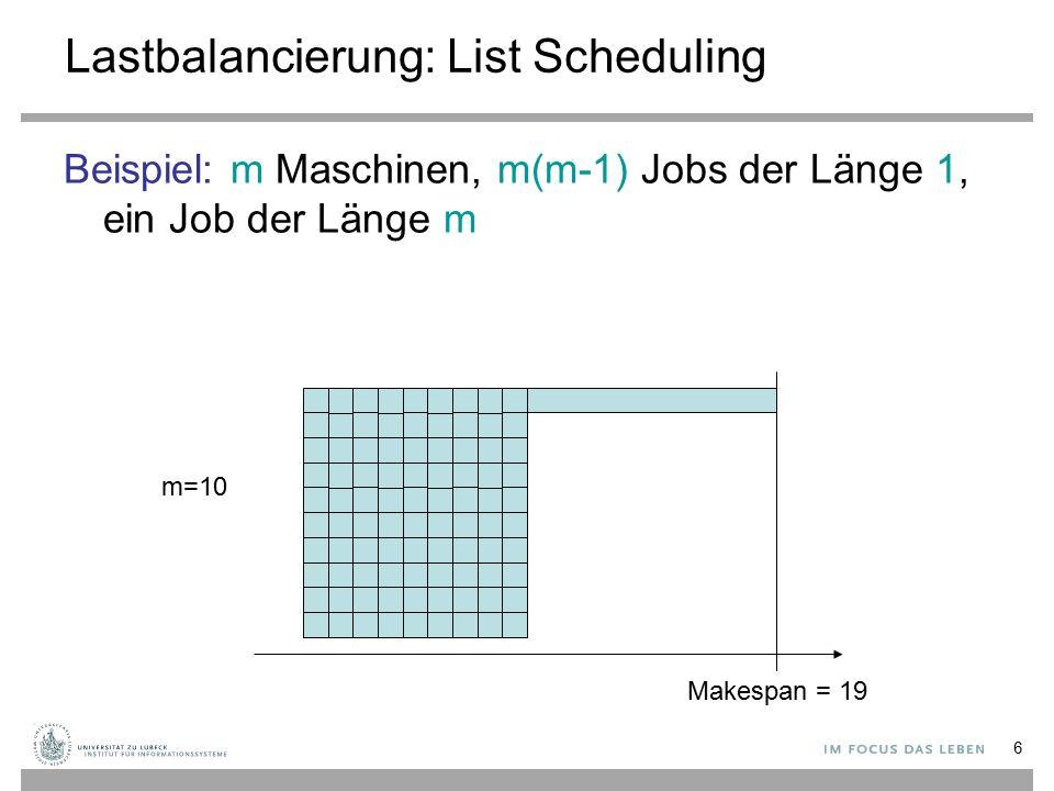 6 Lastbalancierung: List Scheduling Beispiel: m Maschinen, m(m-1) Jobs der Länge 1, ein Job der Länge m m=10 Makespan = 19