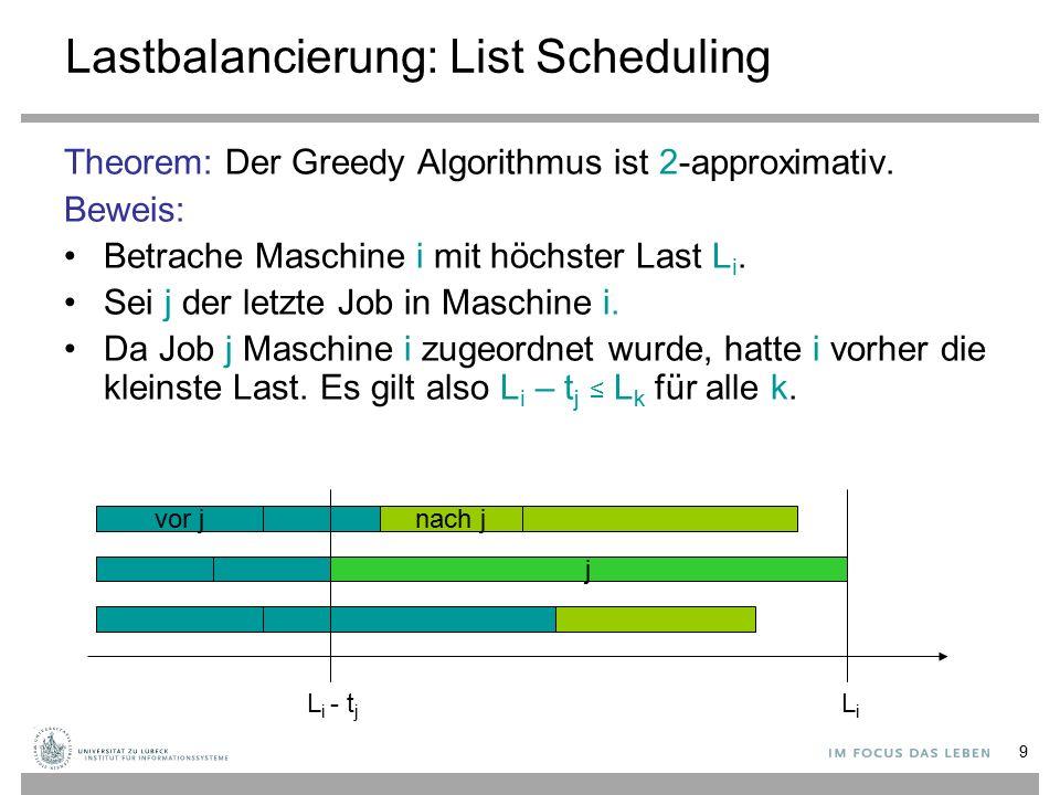 10 Lastbalancierung: List Scheduling Beweis (Forsetzung): Es gilt: L i -t j ≤ L k für alle k Daraus folgt: L i – t j ≤ (1/m)  k L k = (1/m)  k t k ≤ L * wegen Lemma 1 ( L * ≥ max j t j ) Also gilt wegen Lemma 2 ( L * ≥ (1/m)  j t j ): L i = (L i -t j ) + t j ≤ L * + L * = 2∙L *