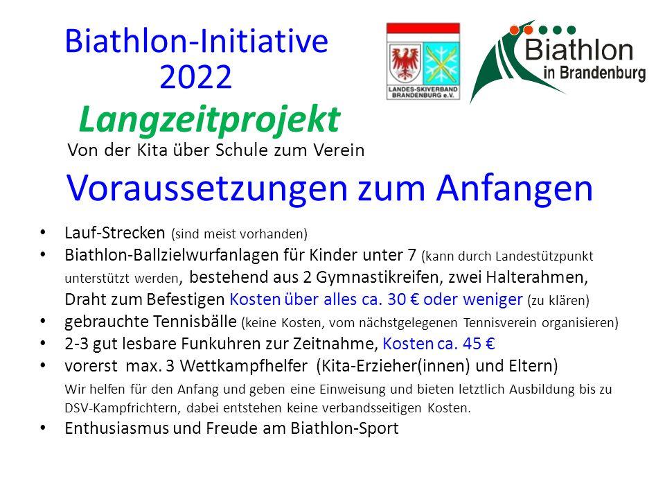 Voraussetzungen zum Anfangen Lauf-Strecken (sind meist vorhanden) Biathlon-Ballzielwurfanlagen für Kinder unter 7 (kann durch Landestützpunkt unterstützt werden, bestehend aus 2 Gymnastikreifen, zwei Halterahmen, Draht zum Befestigen Kosten über alles ca.