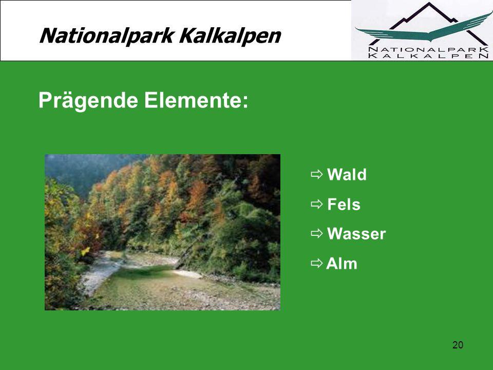 20 Nationalpark Kalkalpen Prägende Elemente:  Wald  Fels  Wasser  Alm