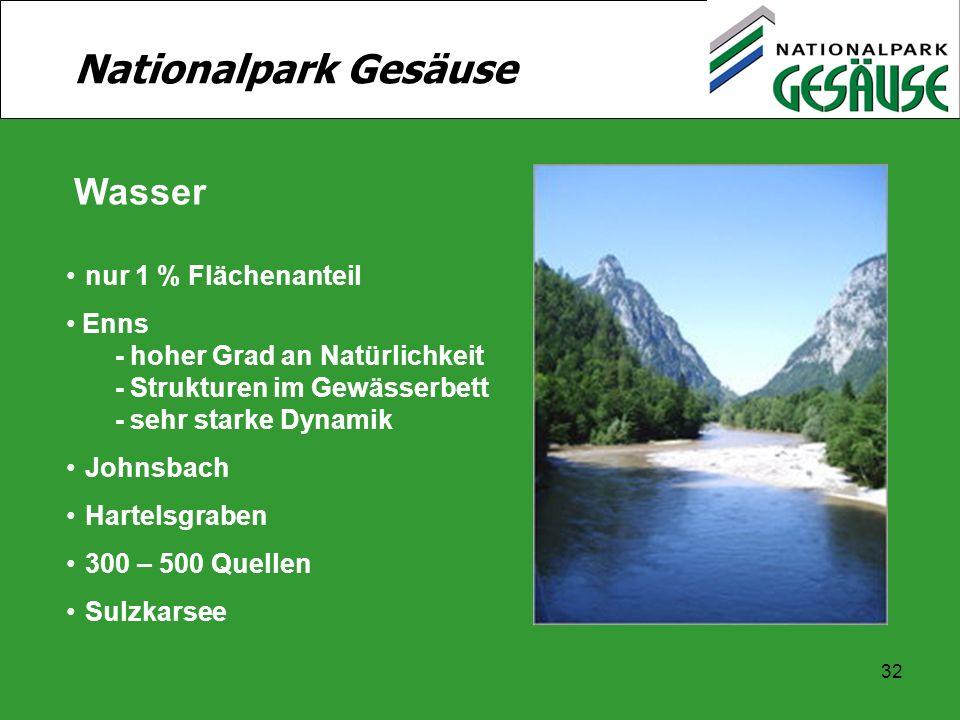 32 Nationalpark Gesäuse Wasser nur 1 % Flächenanteil Enns - hoher Grad an Natürlichkeit - Strukturen im Gewässerbett - sehr starke Dynamik Johnsbach H