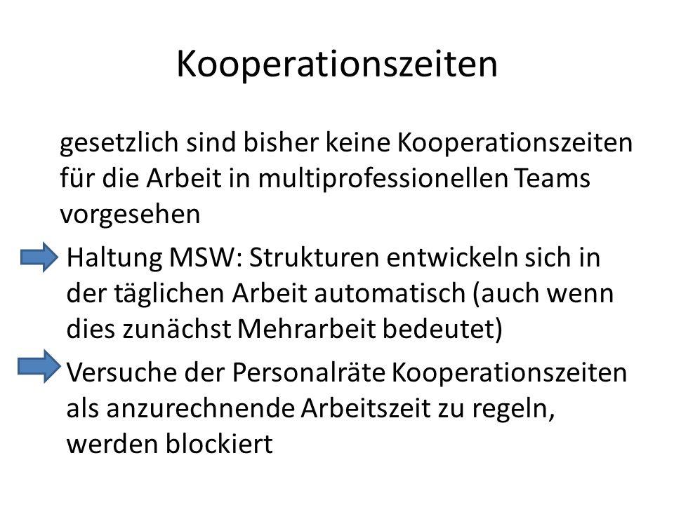 Kooperationszeiten gesetzlich sind bisher keine Kooperationszeiten für die Arbeit in multiprofessionellen Teams vorgesehen Haltung MSW: Strukturen ent