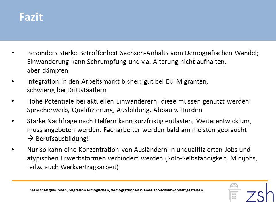 Fazit Menschen gewinnen, Migration ermöglichen, demografischen Wandel in Sachsen-Anhalt gestalten. Besonders starke Betroffenheit Sachsen-Anhalts vom