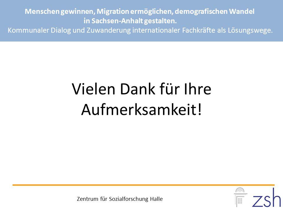 Vielen Dank für Ihre Aufmerksamkeit! Menschen gewinnen, Migration ermöglichen, demografischen Wandel in Sachsen-Anhalt gestalten. Kommunaler Dialog un