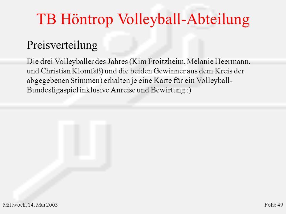 TB Höntrop Volleyball-Abteilung Mittwoch, 14.Mai 2003Folie 50 Abteilungsversammlung 14.