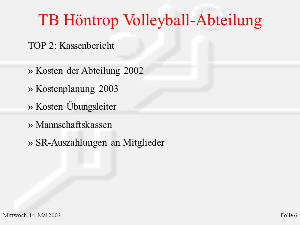 TB Höntrop Volleyball-Abteilung Mittwoch, 14. Mai 2003Folie 7 Kosten der Abteilung 2002