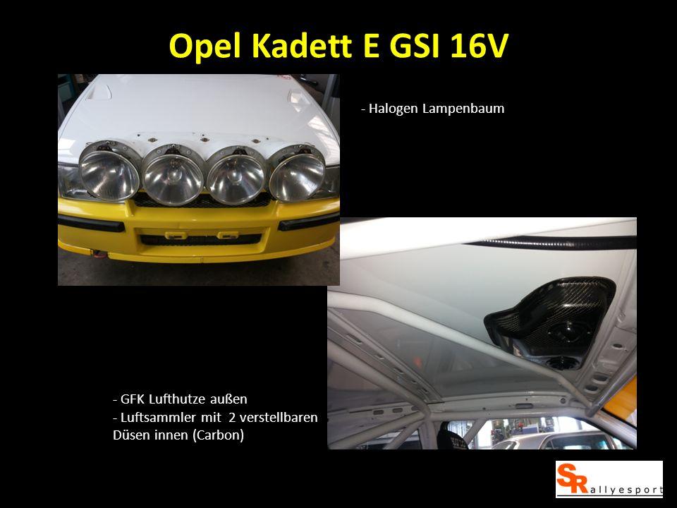 Opel Kadett E GSI 16V - Halogen Lampenbaum - GFK Lufthutze außen - Luftsammler mit 2 verstellbaren Düsen innen (Carbon)
