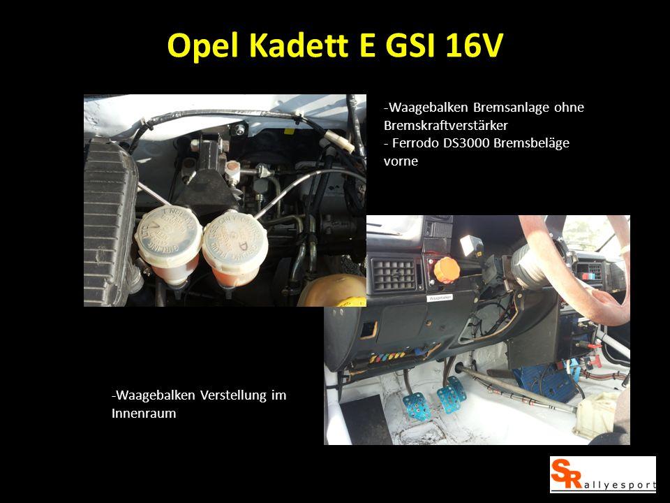 Opel Kadett E GSI 16V -Waagebalken Bremsanlage ohne Bremskraftverstärker - Ferrodo DS3000 Bremsbeläge vorne -Waagebalken Verstellung im Innenraum