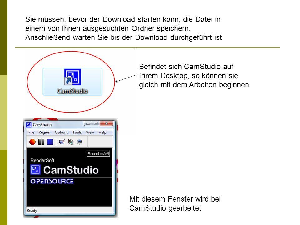 CamStudio verfügt über mehrere Einstellungen die Sie sowohl in der Menüleiste als auch unter den unten angeführten Buttons aufrufen können.