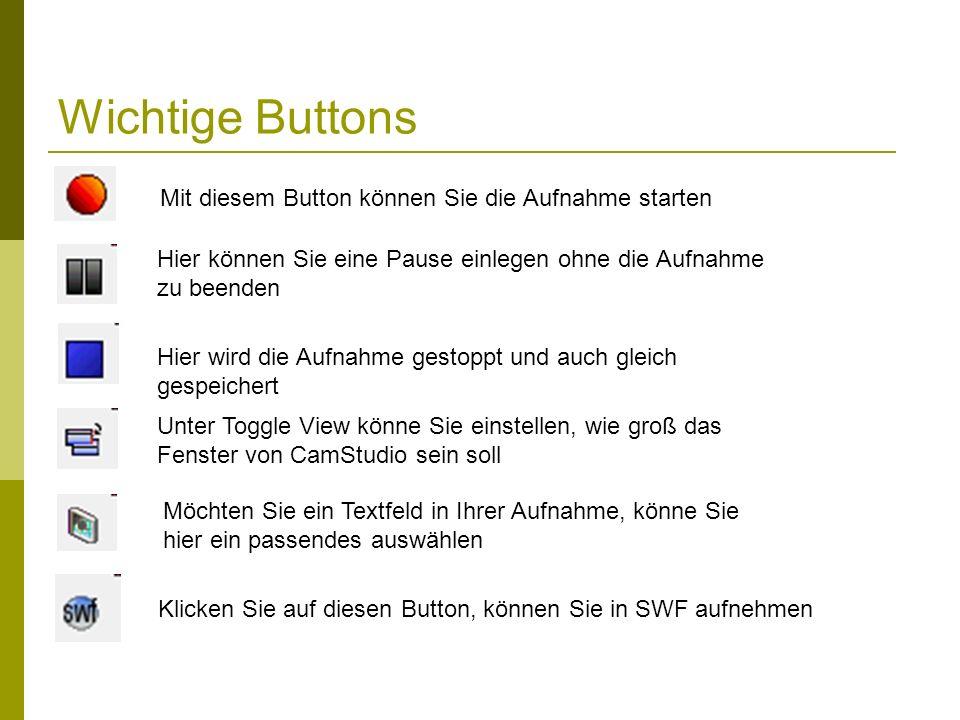 Wichtige Buttons Mit diesem Button können Sie die Aufnahme starten Hier können Sie eine Pause einlegen ohne die Aufnahme zu beenden Hier wird die Aufn