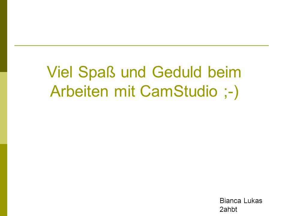 Viel Spaß und Geduld beim Arbeiten mit CamStudio ;-) Bianca Lukas 2ahbt