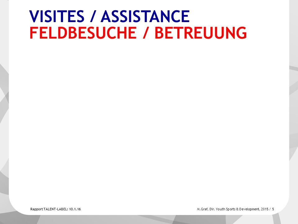 Rapport TALENT-LABEL: 10.1.16 M.Graf, Dir.