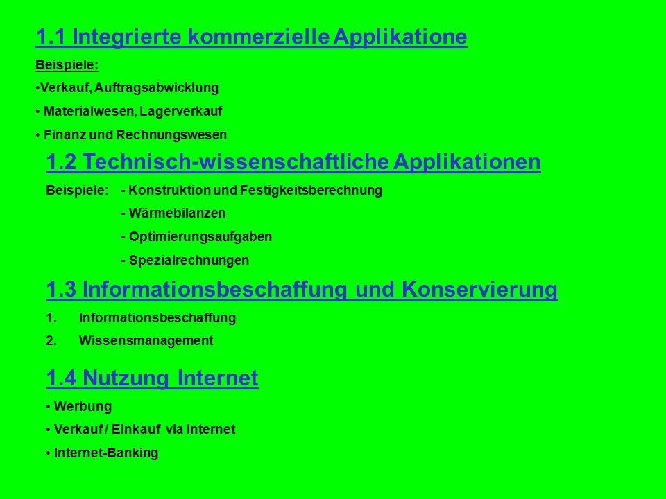 1.1 Integrierte kommerzielle Applikatione Beispiele: Verkauf, Auftragsabwicklung Materialwesen, Lagerverkauf Finanz und Rechnungswesen 1.2 Technisch-w