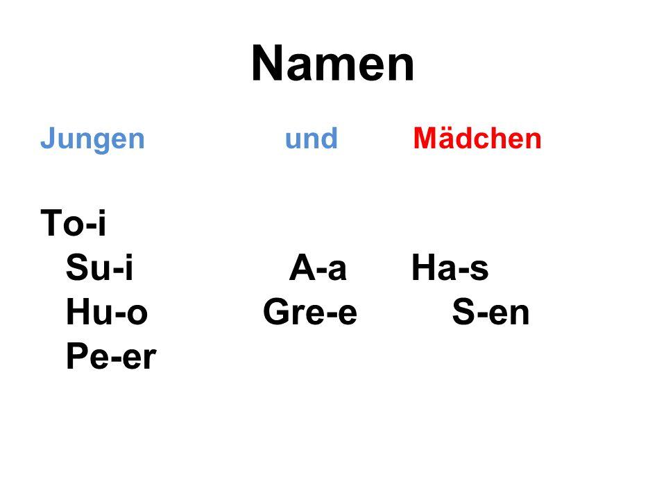 Namen Jungen und Mädchen To-i Su-i A-a Ha-s Hu-o Gre-e S-en Pe-er