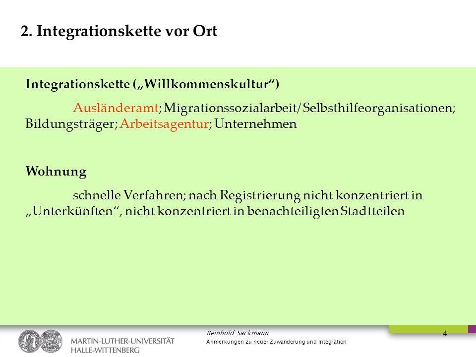 """Reinhold Sackmann Anmerkungen zu neuer Zuwanderung und Integration 4 2. Integrationskette vor Ort Integrationskette (""""Willkommenskultur"""") Ausländeramt"""