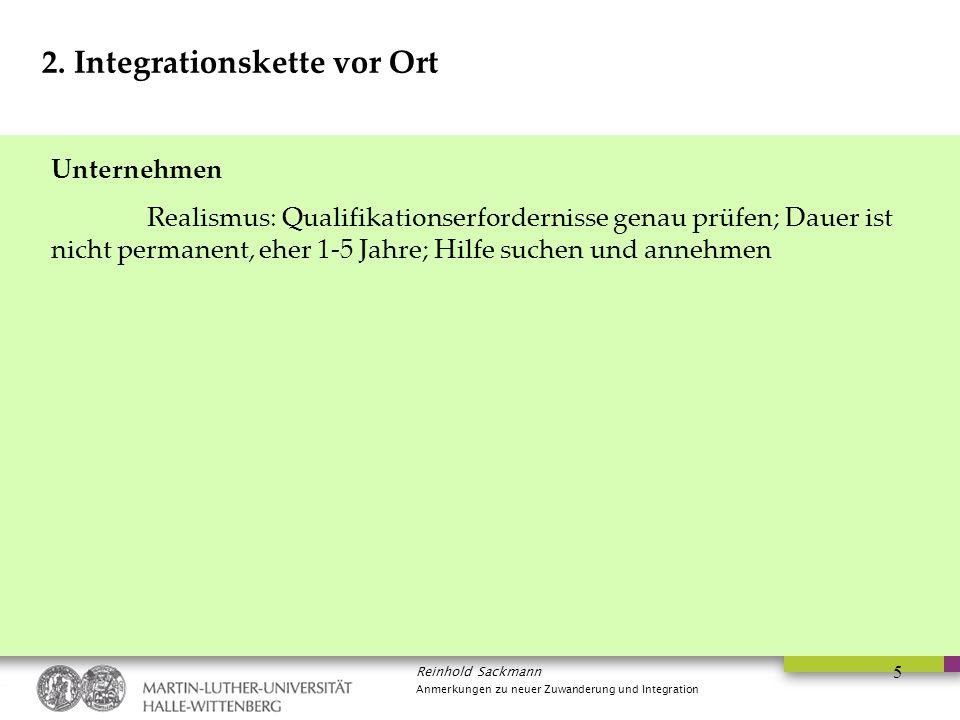 Reinhold Sackmann Anmerkungen zu neuer Zuwanderung und Integration 5 2. Integrationskette vor Ort Unternehmen Realismus: Qualifikationserfordernisse g