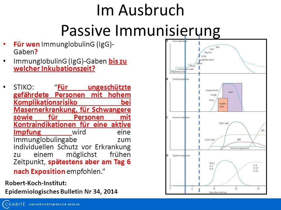 Im Ausbruch Passive Immunisierung U N I V E R S I T Ä T S M E D I Z I N B E R L I N Für wen ImmunglobulinG (IgG)- Gaben? ImmunglobulinG (IgG)-Gaben bi