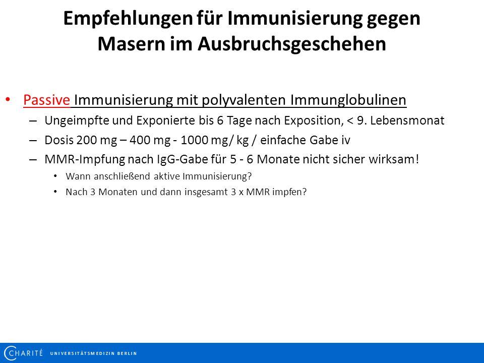 U N I V E R S I T Ä T S M E D I Z I N B E R L I N Empfehlungen für Immunisierung gegen Masern im Ausbruchsgeschehen Passive Immunisierung mit polyvale