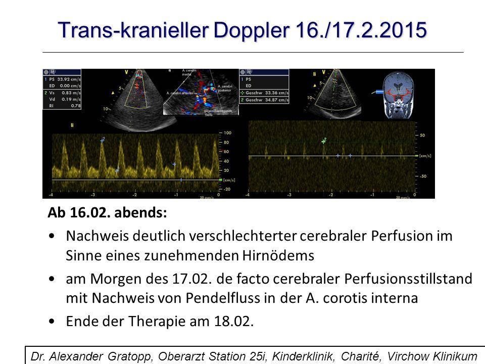 Trans-kranieller Doppler 16./17.2.2015 Ab 16.02. abends: Nachweis deutlich verschlechterter cerebraler Perfusion im Sinne eines zunehmenden Hirnödems