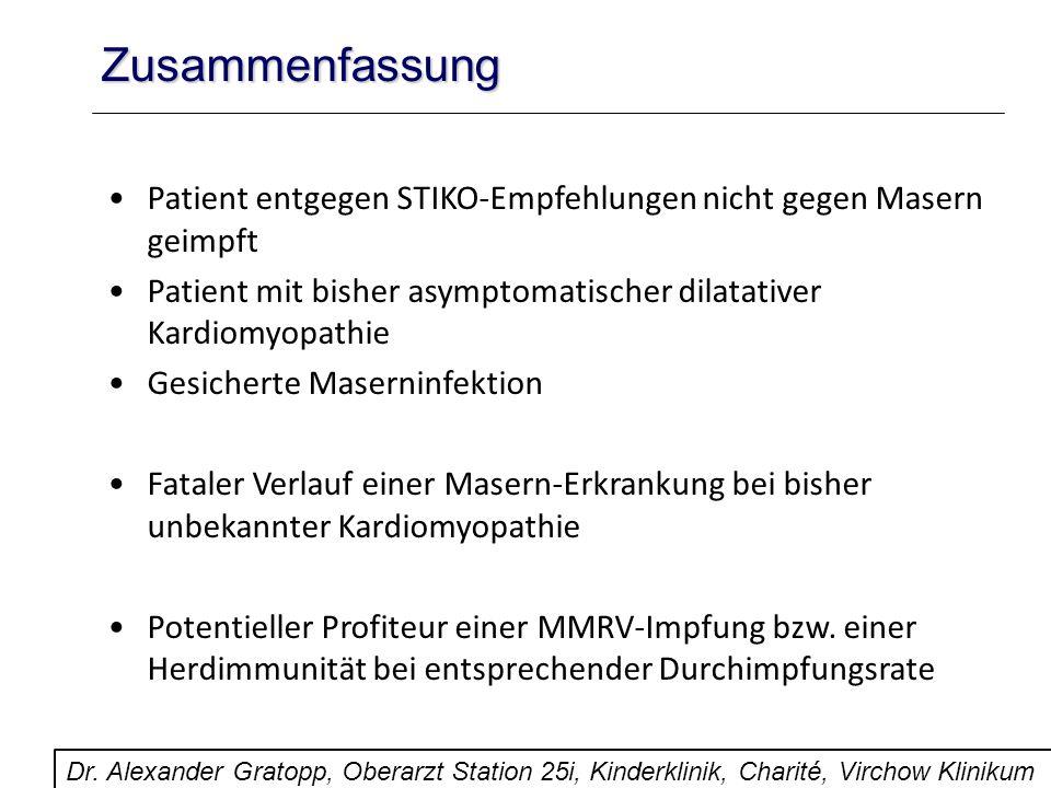 Zusammenfassung Patient entgegen STIKO-Empfehlungen nicht gegen Masern geimpft Patient mit bisher asymptomatischer dilatativer Kardiomyopathie Gesiche