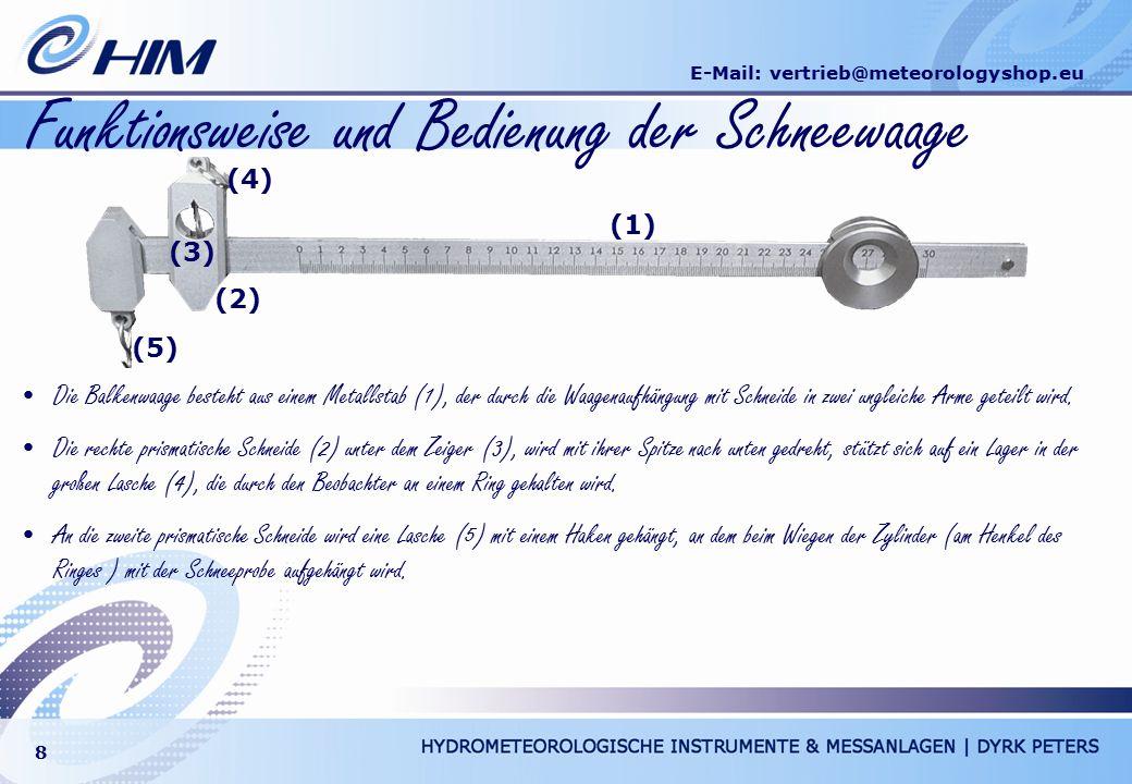 E-Mail: vertrieb@meteorologyshop.eu 8 Funktionsweise und Bedienung der Schneewaage Die Balkenwaage besteht aus einem Metallstab (1), der durch die Waa