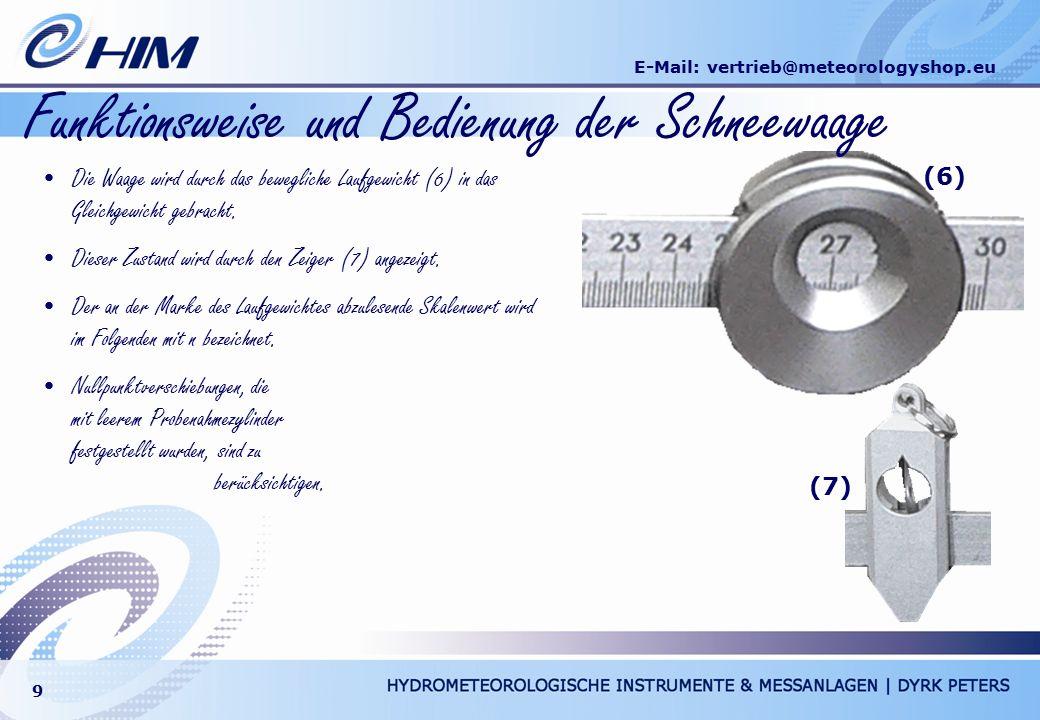 E-Mail: vertrieb@meteorologyshop.eu 9 Funktionsweise und Bedienung der Schneewaage Die Waage wird durch das bewegliche Laufgewicht (6) in das Gleichge