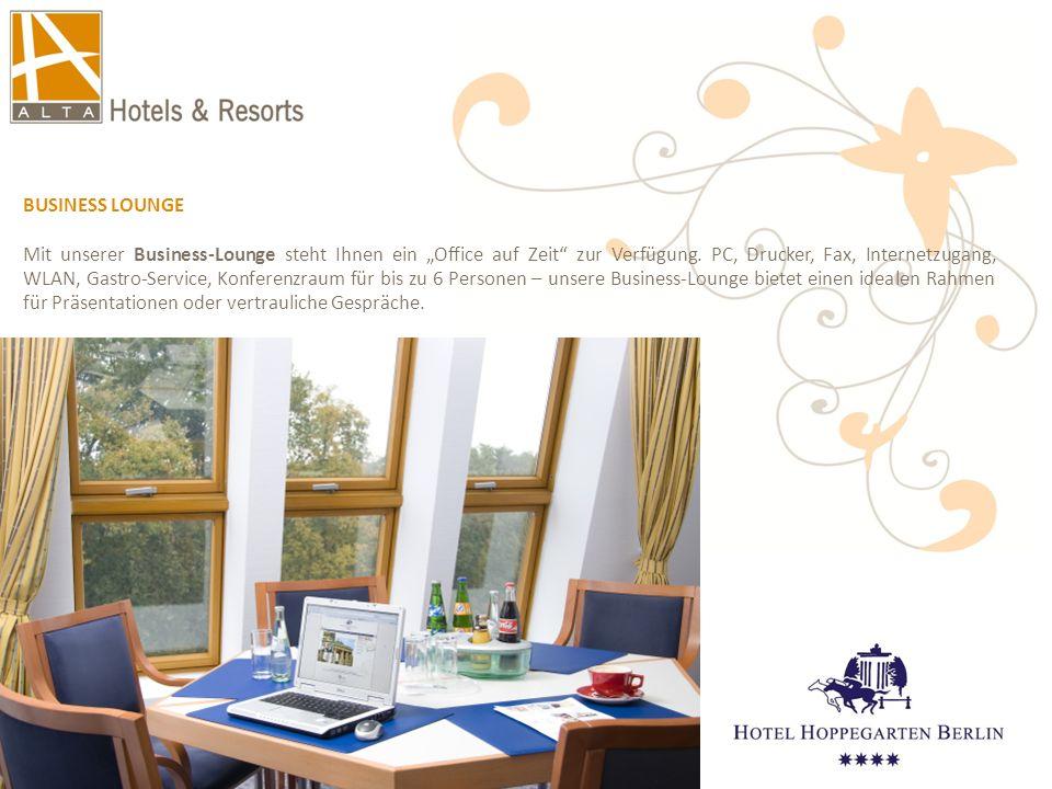 """BUSINESS LOUNGE Mit unserer Business-Lounge steht Ihnen ein """"Office auf Zeit"""" zur Verfügung. PC, Drucker, Fax, Internetzugang, WLAN, Gastro-Service, K"""