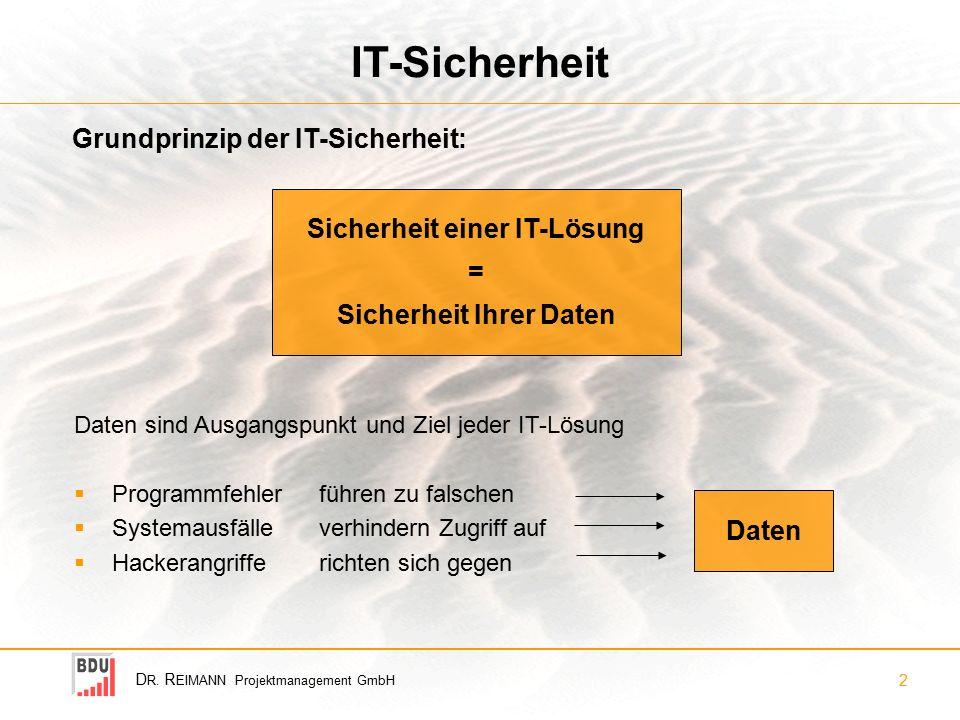 D R. R EIMANN Projektmanagement GmbH 2 IT-Sicherheit Daten sind Ausgangspunkt und Ziel jeder IT-Lösung  Programmfehler führen zu falschen  Systemaus