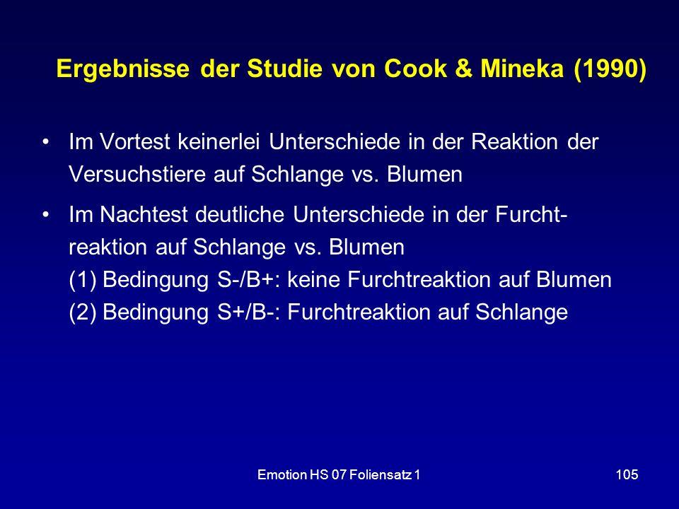 Emotion HS 07 Foliensatz 1105 Ergebnisse der Studie von Cook & Mineka (1990) Im Vortest keinerlei Unterschiede in der Reaktion der Versuchstiere auf S