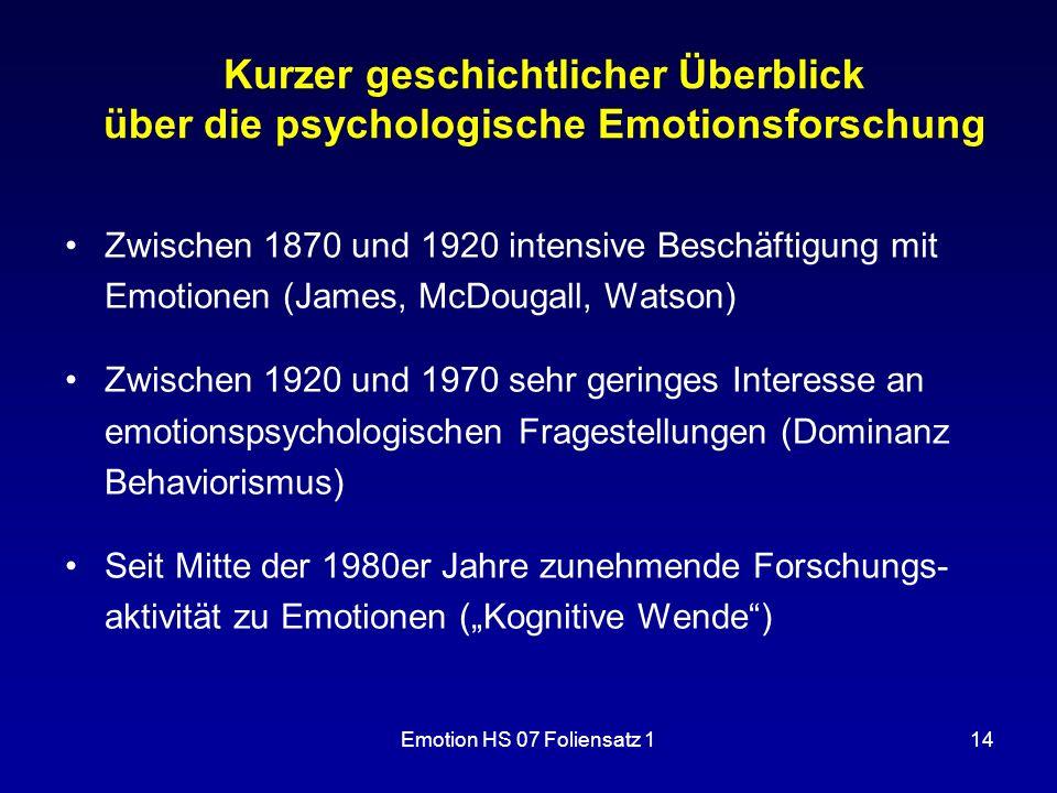 Emotion HS 07 Foliensatz 114 Kurzer geschichtlicher Überblick über die psychologische Emotionsforschung Zwischen 1870 und 1920 intensive Beschäftigung
