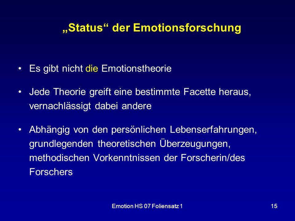 """Emotion HS 07 Foliensatz 115 """"Status"""" der Emotionsforschung Es gibt nicht die Emotionstheorie Jede Theorie greift eine bestimmte Facette heraus, verna"""
