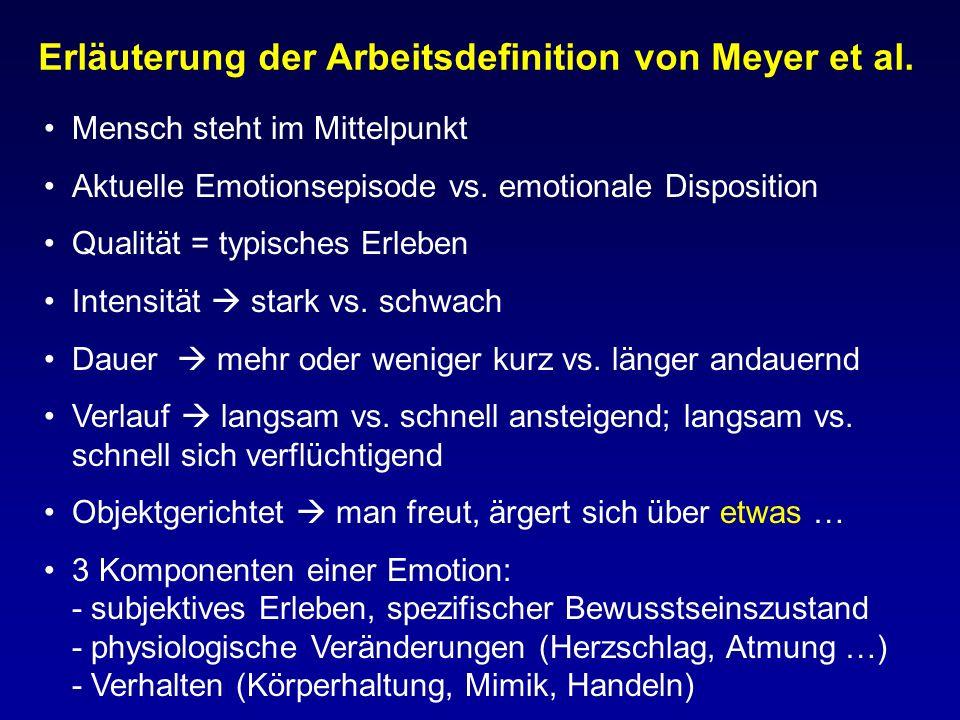 Erläuterung der Arbeitsdefinition von Meyer et al. Mensch steht im Mittelpunkt Aktuelle Emotionsepisode vs. emotionale Disposition Qualität = typische