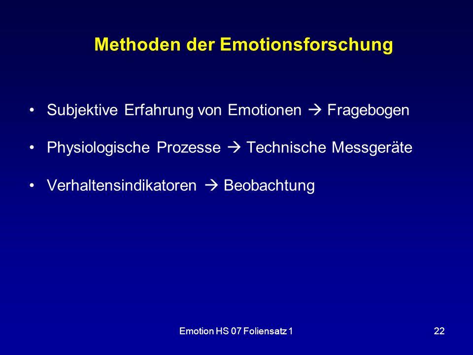 Emotion HS 07 Foliensatz 122 Methoden der Emotionsforschung Subjektive Erfahrung von Emotionen  Fragebogen Physiologische Prozesse  Technische Messg
