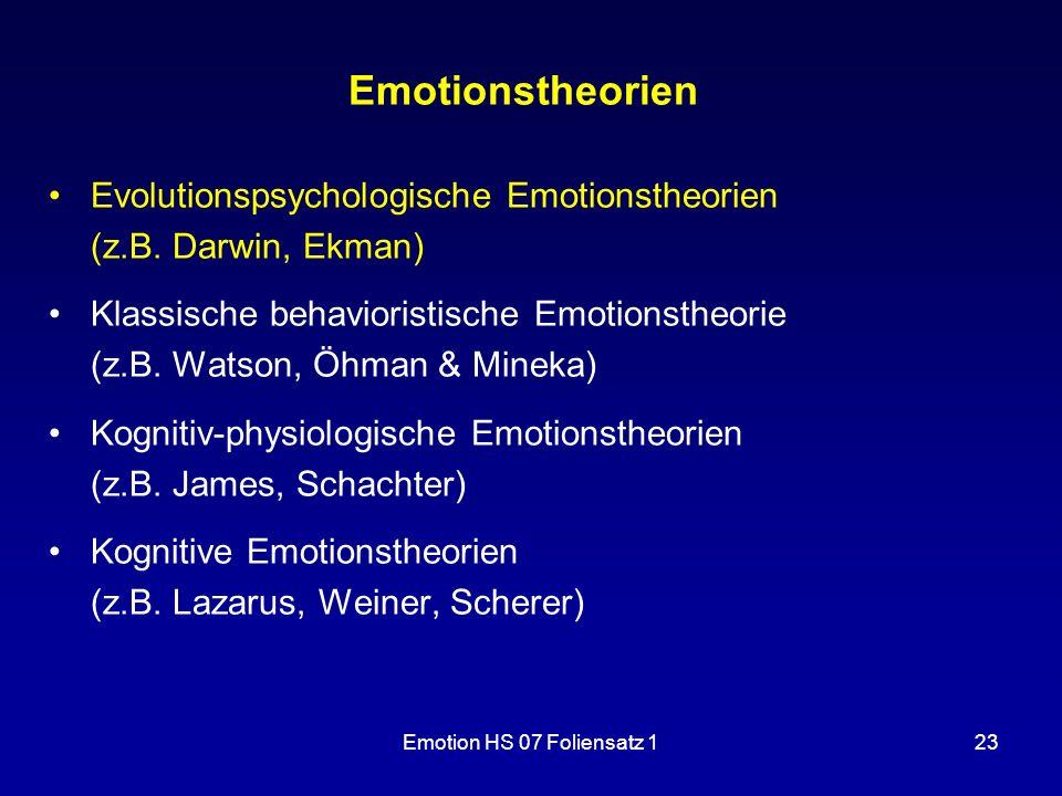 Emotion HS 07 Foliensatz 123 Emotionstheorien Evolutionspsychologische Emotionstheorien (z.B. Darwin, Ekman) Klassische behavioristische Emotionstheor