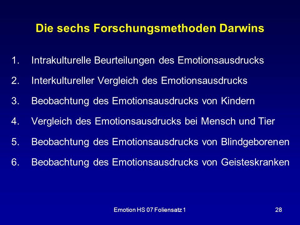 Emotion HS 07 Foliensatz 128 Die sechs Forschungsmethoden Darwins 1.Intrakulturelle Beurteilungen des Emotionsausdrucks 2.Interkultureller Vergleich d