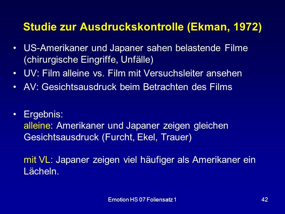 Emotion HS 07 Foliensatz 142 Studie zur Ausdruckskontrolle (Ekman, 1972) US-Amerikaner und Japaner sahen belastende Filme (chirurgische Eingriffe, Unf
