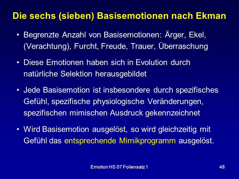 Emotion HS 07 Foliensatz 148 Die sechs (sieben) Basisemotionen nach Ekman Begrenzte Anzahl von Basisemotionen: Ärger, Ekel, (Verachtung), Furcht, Freu