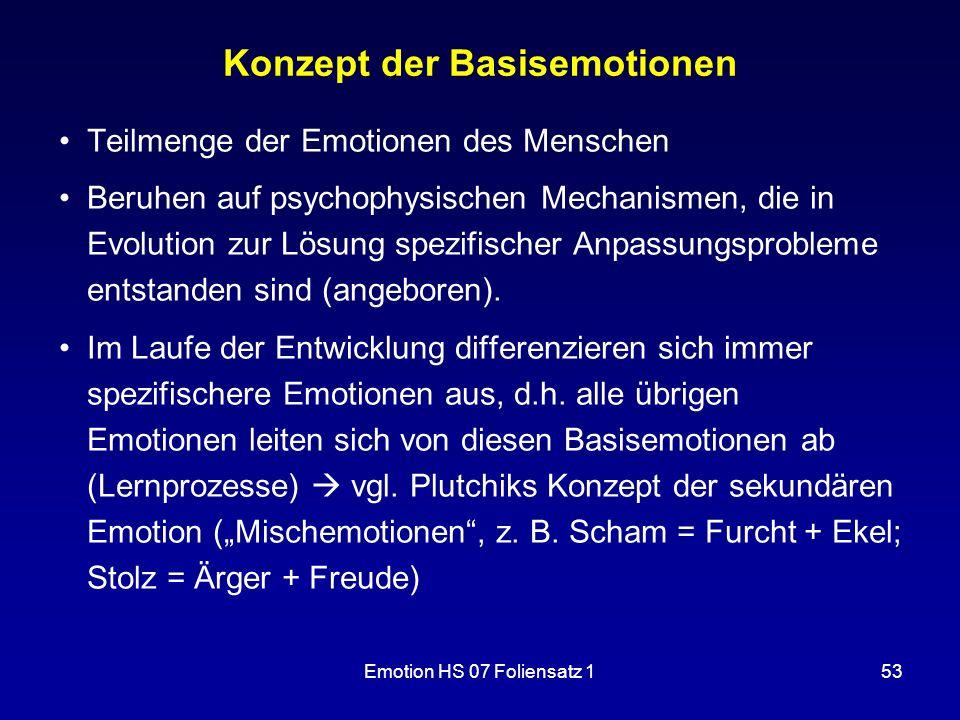Emotion HS 07 Foliensatz 153 Konzept der Basisemotionen Teilmenge der Emotionen des Menschen Beruhen auf psychophysischen Mechanismen, die in Evolutio