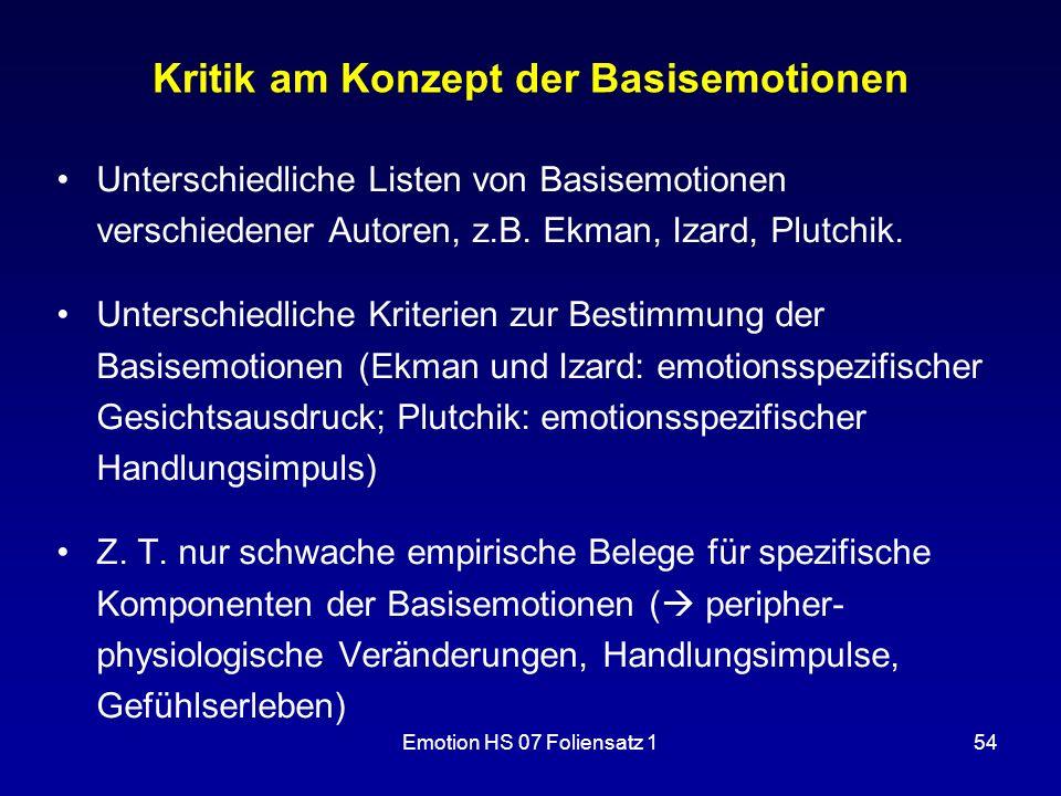 Emotion HS 07 Foliensatz 154 Kritik am Konzept der Basisemotionen Unterschiedliche Listen von Basisemotionen verschiedener Autoren, z.B. Ekman, Izard,