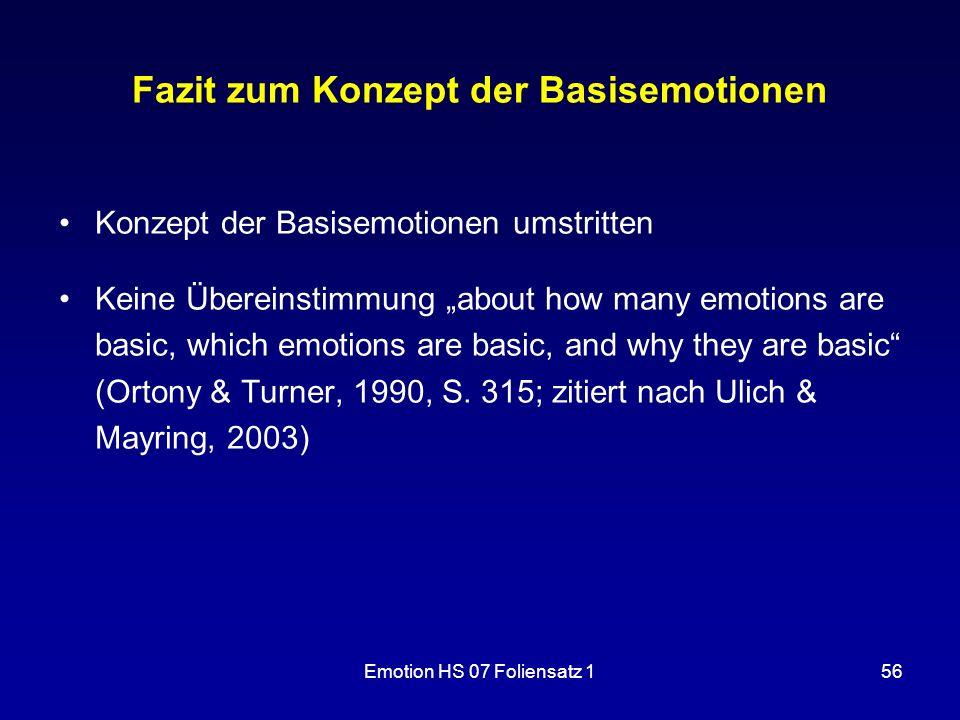 """Emotion HS 07 Foliensatz 156 Fazit zum Konzept der Basisemotionen Konzept der Basisemotionen umstritten Keine Übereinstimmung """"about how many emotions"""