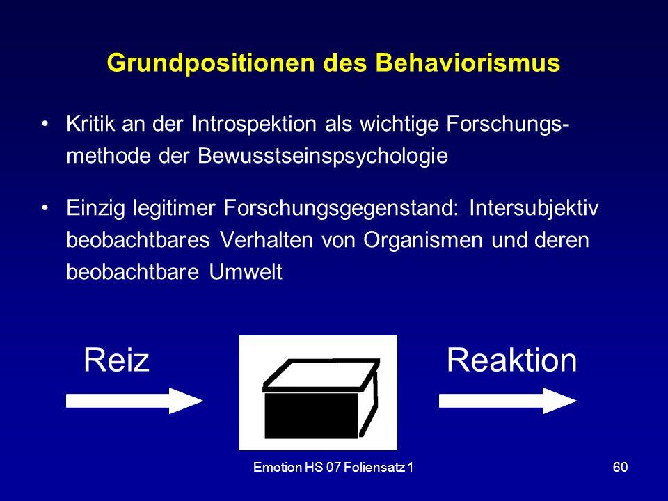 Emotion HS 07 Foliensatz 160 Grundpositionen des Behaviorismus Kritik an der Introspektion als wichtige Forschungs- methode der Bewusstseinspsychologi