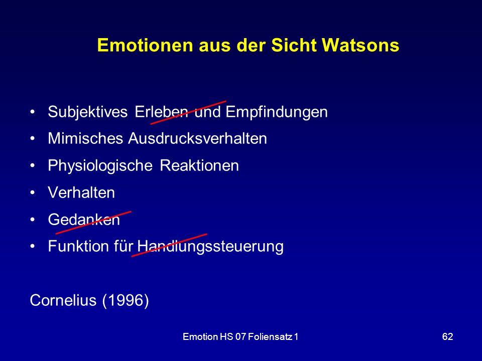 Emotion HS 07 Foliensatz 162 Emotionen aus der Sicht Watsons Subjektives Erleben und Empfindungen Mimisches Ausdrucksverhalten Physiologische Reaktion