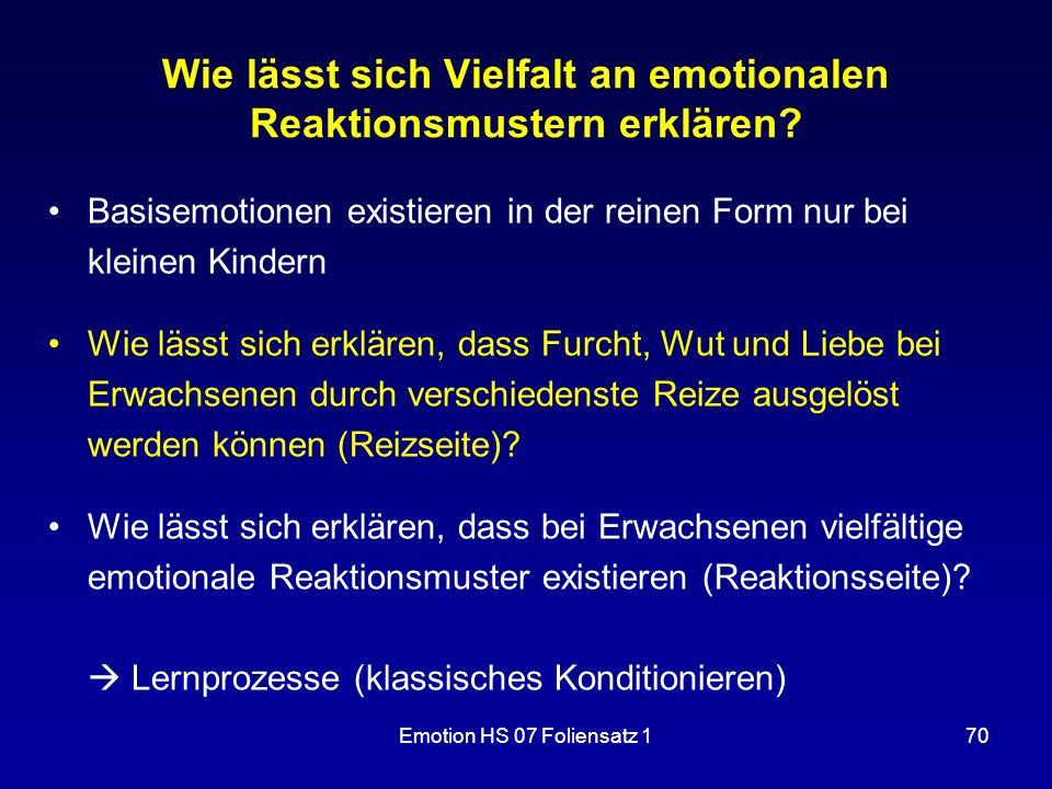 Emotion HS 07 Foliensatz 170 Wie lässt sich Vielfalt an emotionalen Reaktionsmustern erklären? Basisemotionen existieren in der reinen Form nur bei kl
